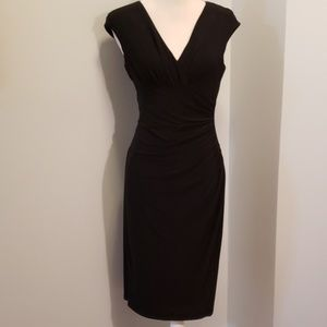 Lauren Ralph Lauren Surplice Dress Blk 8 EUC Sexy!
